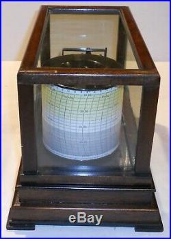 Vintage Taylor Cyclo-Stormograph Barograph Recording Barometer WithCharts And Ink