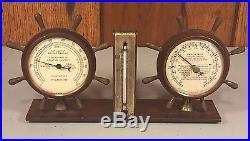 Vintage Weather Station Swift & Anderson Boston MA Ships Wheel Design Hygrometer