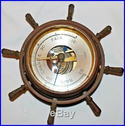 Vintage Working Brass Salem Ship's Wheel Barometer made in Germany