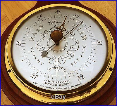 Vintage mahogany wall weather station Smith Instruments of Boston, early-1900s