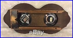 Vtg Bulova Quartz Clock (Runs) and Operating Barometer Wall Set Wood Case