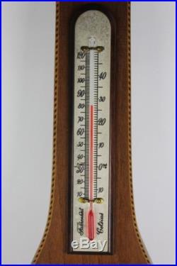Vtg Short Mason Stormguide Banjo Barometer Thermometer 34 Weather Instrument NR