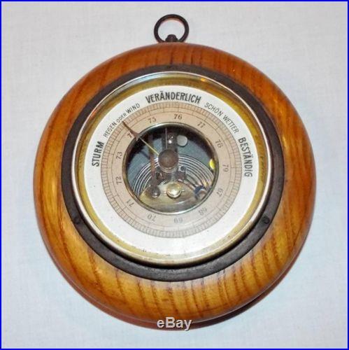Vtg Sturm Veranderlich Bestandig German Barometer, Oak, Brass & Beveled Glass