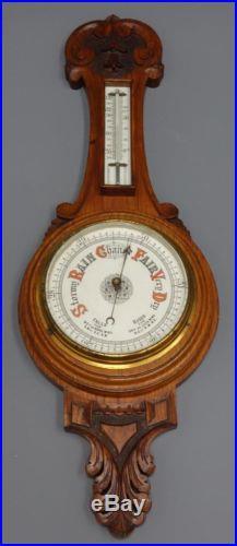 Vtg antique carved solid oak banjo ANEROID Barometer Thermometer