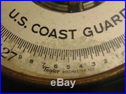 WW2 Era Taylor Metal U. S. COAST GUARD Marked Round Dial Wall Hanging Barometer