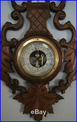 Weather station Barometer thermometer in carved wood and beveled glass