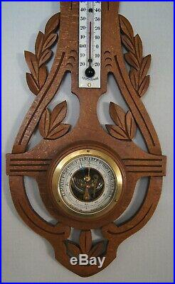 Weather station Barometer thermometer in carved wood and beveled glass Art Deco