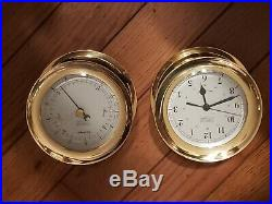 Weems & Plath Vintage Marine Brass Barometer And Clock Made In Germany