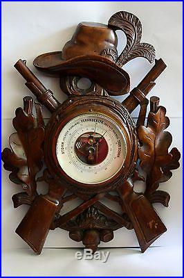Wonderful Huge Hand Carved Black Forrest Barometer Guns, Leaves and Hat