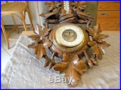 XL superb wooden barometer carved black forest